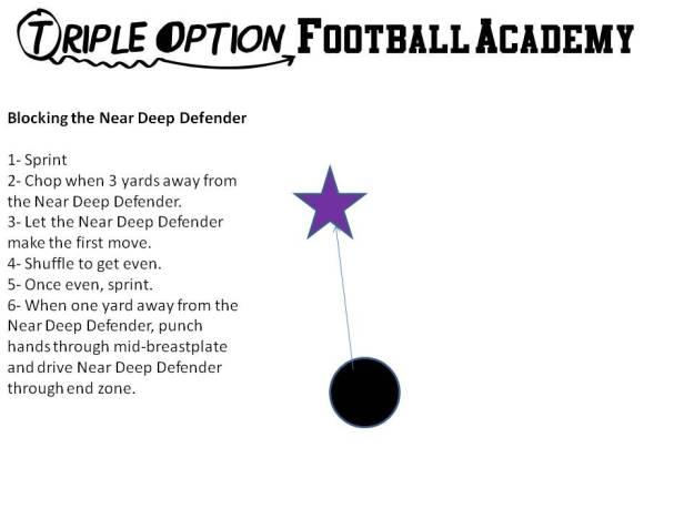Receiver Blocking the Near Deep Defender (Triple Option Football Academy).