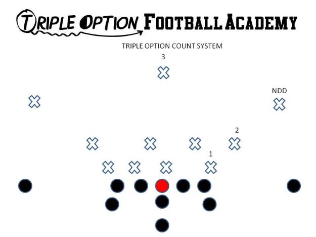 #1- Defensive Lineman touching the Tackle. #2- Defender on or past #1. #3- Defender on or past #2. The Near Deep Defender is not part of the count.