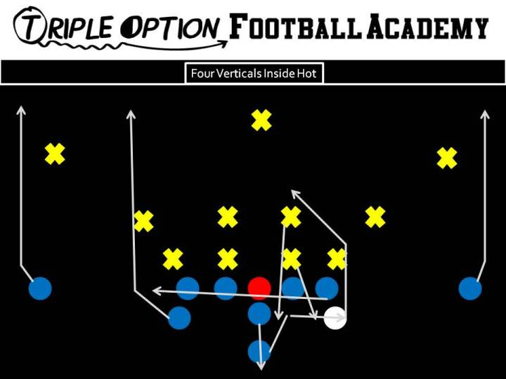 Four Verticals Inside Hot. PR- Vert PA- Vert to Inside Hot OL- Slide Away BA- Vert BR- Vert Q- Five Step Drop, Throw to Open A-Back unless Hot. If so, throw Hot Route. B- Veer Path-Kick