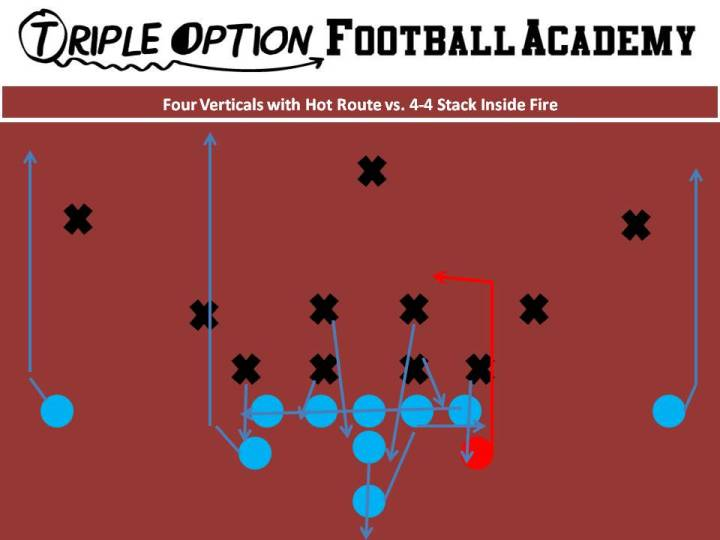 Four Verticals with Hot Route versus the 4-4 Stack Inside Fire. PR- Stretch PA- Hot-Post-Vert OL- Slide Away BA/BR- Stretch Q- Five-Step Drop, Throw Hot (Can throw on third step if recognized) B- Veer Path-Kick