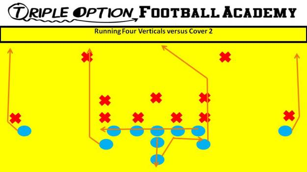 Running Four Verticals Versus Cover 2. PR- Stretch PA- Stretch to Post (if MOF is open) OL- Slide Away BA/BR- Stretch Q- Five-Step Drop, Throw to PA B- Veer Path-Kick